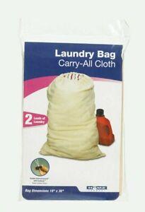 Homz LAUNDRY BAG Carry-All Cloth Tan Canvas 2 Loads Laundry Drawstring 1220219