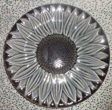Vintage French Majolica Faience D'Art Proceram France Gray Sunflower Plate