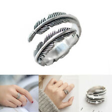 UK 925 Sterling Silver Feather Ring Band Open Finger Fully Adjustable Jewelry