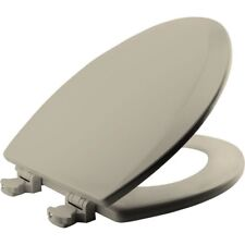 Bath Elongated Toilet Seat Lid Cover Closed Front Lift Off Hinge Replace Almond