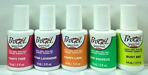 5 Super Nail Pro Gel Polish Tahiti Time Lavish Lavender Dandy Lion Busy Bee Kiwi