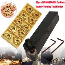 Set of 20mm Lathe Turning Tool Holder MWLNR2020K08 + 10 WNMG0804 Carbide Inserts