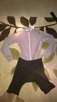 Silver Cycling Skinsuit / Skin Suit - Medium with Black Shorts - Long Sleeved