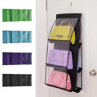 6 Pocket Bag Handbag Storage Holder Organizer Rack Hook Hang Wardrobe new