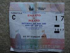 ENGLAND V POLAND FOOTBALL TICKET STUB 1989 WORLD CUP QUALIFYING