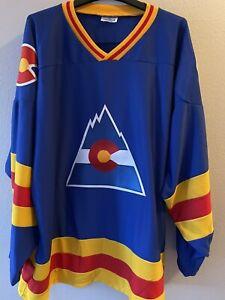 Colorado Rockies/ Avalanche Vintage Hockey Jersey NHL Blue Rare XXL