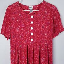 New listing Vtg 1970/80s Cottagecore Dress 14W Red Floral Midi Short Sleeve Shell Buttons