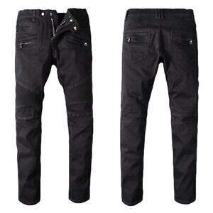 New France Pop Style Men's Moto Pants Skinny Fit Pure Black Biker Jeans B964C