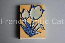 Ancien grand tampon scolaire bois plastique fleur tulipe 288 10*7 cm AA157