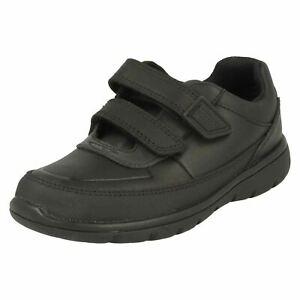 Boys Clarks Black Leather Hook & Loop Strap School Shoes VENTURE WALK