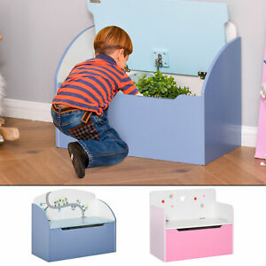 Kids Wooden Toy Storage Box Chest Chair 2 in 1 w/ Gas Stay Bar Seating Bench