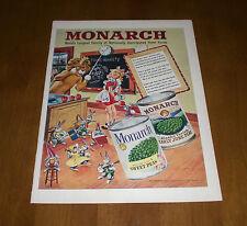 1949 ORIGINAL MONARCH CANNED VEGETABLES LIFE MAGAZINE AD - FINER FOODS