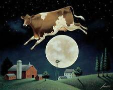 Cow Jumps Over The Moon Art Print By Lowell Herrero whimsical farm animal poster