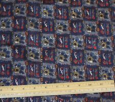 "Navy/Gold/Red Printed Tissue Taffeta 100% Silk Fabric 44"" Wide By Yard (TS-7363)"