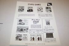 Vintage WARREN PAPER PRODUCTS - STAPLE GAMES ad sheet #0223