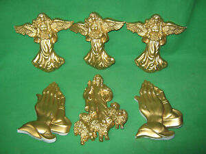 Plastic Cake Toppers Praying Hands Angels Shepherd -Gold  Decorations 6 Pieces