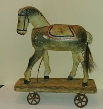 GERMAN MECHANICAL WOOD PULL TOY HORSE HEAD & TAIL MOVE