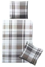 Biberna Linon Bettwäsche Set 135x200cm 100% Baumwolle Reißverschluss grau/weiß