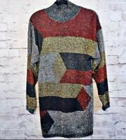 Vintage Beldoch Popper Metallic Tunic Sweater Size XL