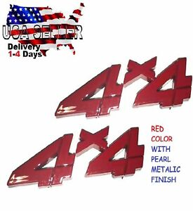 X2 Pieces RED 4 X 4 EMBLEM CRANE CARRIER FIRE TRUCK badge Trunk 3D FIT ALL CARS