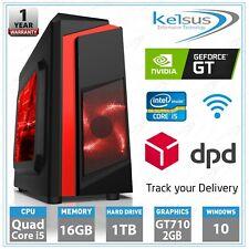 Quad Core i5 Gaming Desktop PC 16GB RAM 1TB HDD Windows 10 Computer Tower HDMI