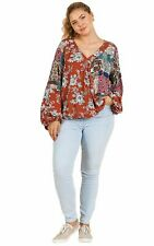 Rust Floral and Paisley Mixed Print Long Puff Sleeve V-Neck Crossbody Top