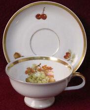 JAEGER china HARVEST pattern CUP & SAUCER Set Grapes
