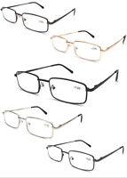 L453 Classic Design Reading Glasses/Spring Hinges/Square Metal Specs/Comfort Arm