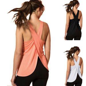 Women's Casual Cross Back Yoga Shirt Sleeveless Back Workout Sports Vest Tops UO