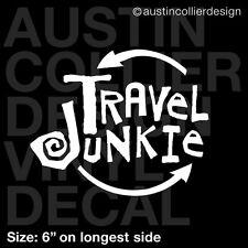 "6"" TRAVEL JUNKIE vinyl decal car window laptop sticker - traveling trip flying"