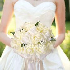 Wedding Bouquet Foam Flowers Rose Lace Bride Bridesmaid Girl Wand Decor K