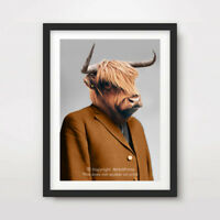 HIGHLAND COW ANIMAL ART PRINT POSTER Head Funny Quirky Scottish Scotland Pub Bar