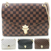 Ladies Checkered Pattern Crossbody Bag Women's Flap Over Evening Shoulder Bags