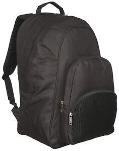 Mens 100% Plain Black Backpack Rucksack Bag SPORT WORK TRAVEL SCHOOL HIKING
