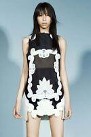 £1140 Antonio Berardi Resort 2016 Black white embroidered Dress It 40 uk 8