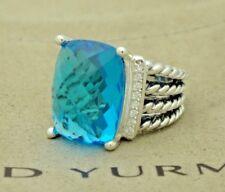 David Yurman Sterling Silver 16x12mm Blue Topaz Diamond Wheaton Ring Size 6