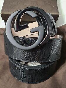 """NWT Authentic Gucci Belt Black Shiny Imprime GG 100cm 34""""-36""""Waist"""