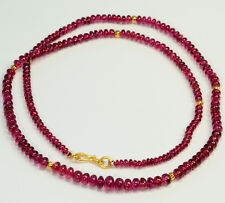 "18K Solid Yellow Gold Natural Ruby Red Spinel Rondelle Beads 19"" Necklace"