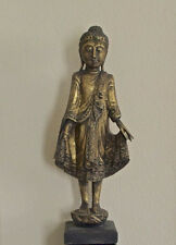 19th Century Burmese Mandalay Standing Buddha Statue Gold Gilded w/ Glass Inlaid