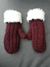 🧤🧤 JACK WILL Burgundy Woolly Lined Warm Winter Mittens Gloves