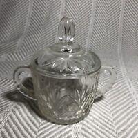 vintage cut class starburst lidded jar double handle sugar bowl candy jar