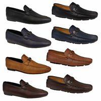 Mens Moccasins Leather Look Shoes Driving Loafers Slip On Boat Formal Wedding