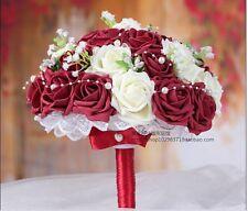 Burgundy Handmade Decorative Artificial Rose Flower Bride Bridal Wedding Bouquet