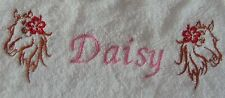 """PERSONALIZED EMBROIDERED  HORSES HEAD BATH/SWIMMING TOWEL"" 100% COTTON"