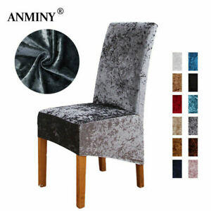 Crushed Velvet Dining Chair Covers ANMINY Stretch Removable Protective Slipcover