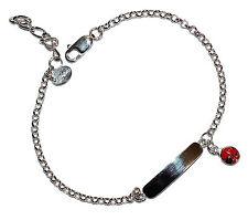 Stamped 925 Sterling Silver & Enamel Children's Ladybird ID Bracelet