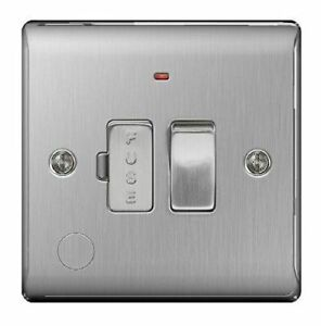 BG Electrical NBS52 13amp Metal Brushed Steel Switched Fused Connection Unit Led