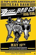 Zz Top/Bad Company/Cheap Trick 2019 Austin Concert Poster-Classic Rock Legends!