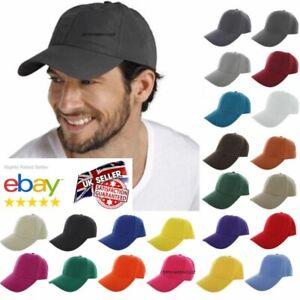 COTTON RICH ADULT MENS PLAIN BASEBALL CAP ADJUSTABLE SUMMER SUN HAT UNISEX CAP