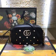 Gucci GG Crossbody Shoulder Bag Handbag Black Leather
